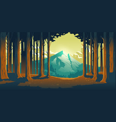 Cartoon nature landscape with mountain and forest vector