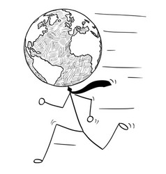 Cartoon of running businessman with earth world vector