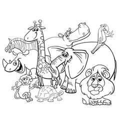 Cartoon safari animals coloring page vector