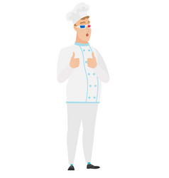 Caucasian chef cook watching movie in 3d glasses vector