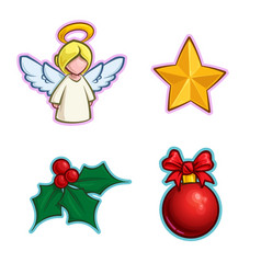 Christmas icon set - angel star holly ball vector