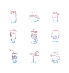 colorful hand drawn drinks set on white background vector image vector image