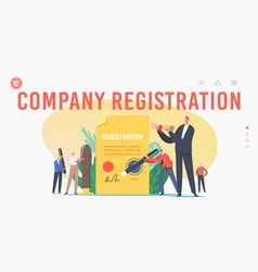 Company registration landing page template tiny vector