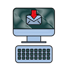 computer receiving email message digital vector image