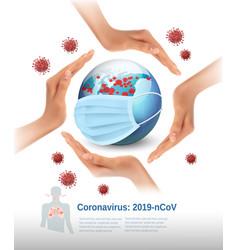 coronavirus background covid-19 hands around vector image