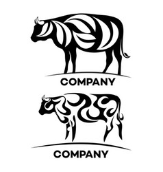 cow and ecology logo vector image