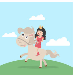 cute little princess riding on a horse cartoon vector image
