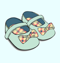 Designs of baby shoes with bow for girls vector