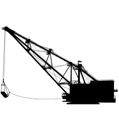 Dragline walking excavator with a ladle vector