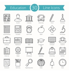 Education line icons vector