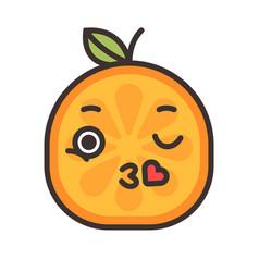 Emoji - kiss orange smile isolated vector