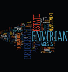 Envirian brokerage text background word cloud vector