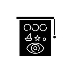 eyesight check black icon sign on isolated vector image