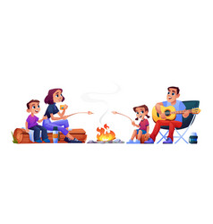 family couple campers resting at campfire together vector image