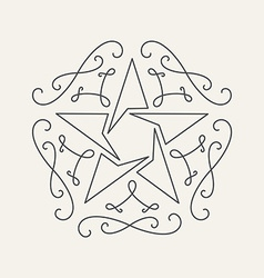 Floral monograms design template with star vintage vector image