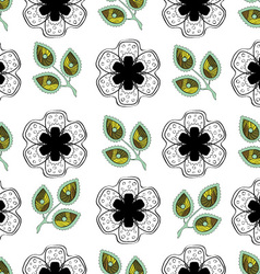 Flowers and Leaves Endless Seamless Pattern vector