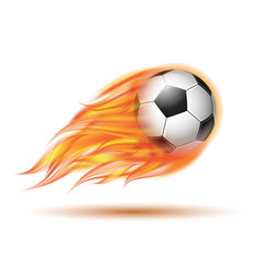 Flying football or soccer ball on fire vector