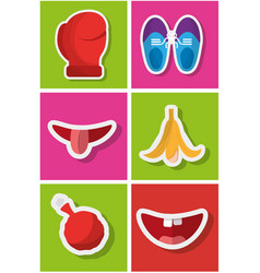 Fools day celebration festive pranked icons set vector
