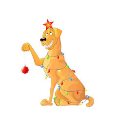 funny dog with a garland vector image