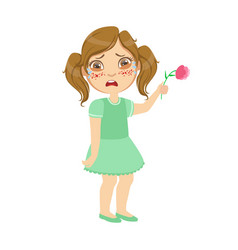 Girl with allergy on flowerssick kid feeling vector