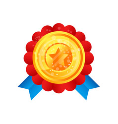 gold medal award with star and ribbon vector image