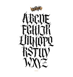 Gothic english alphabet set font for tattoo vector