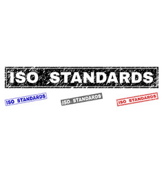 Grunge iso standards textured rectangle stamp vector