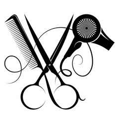 hair stylist scissors comb and hairdryer symbol vector image