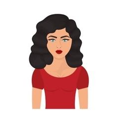 Half body woman with black wavy hair vector