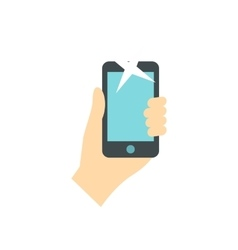 Hand holding smartphone icon flat style vector image
