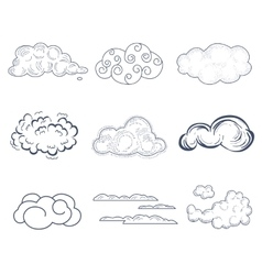Handdrawn cloud collection vector