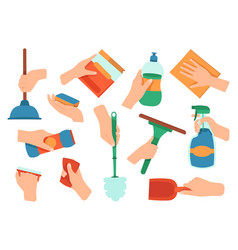 hands holding detergent cleaning disinfection vector image