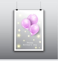 happy mothers day card design with balloons vector image