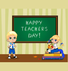 happy teachers day greeting card with cute vector image