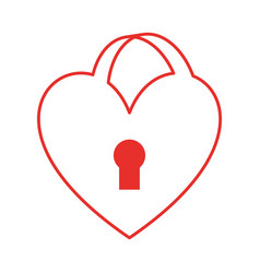 heart love with key hole vector image