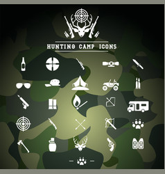 Hunting camp icons camping activities vector