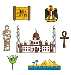 Icons and symbols of ancient Egypt vector