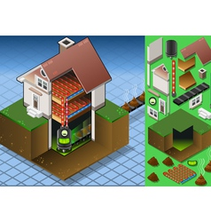 Isometric House with Bio Mass Boiler vector