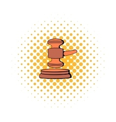 Judge gavel icon comics style vector