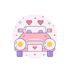 Just married wedding car icon in line art vector