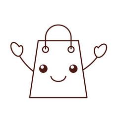 kawaii paper gift bag shopping commerce market vector image