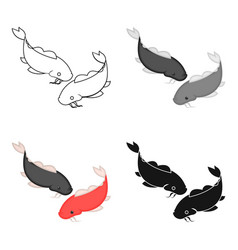 koi icon in cartoon style isolated on white vector image