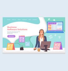 Landing page website business software vector