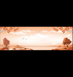 Landscape-panoramic view of the bay from the hill vector