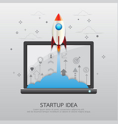 Laptop startup idea vector