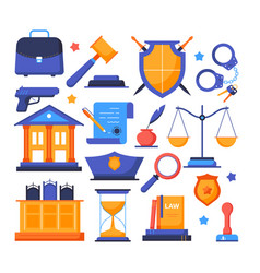 law and order - flat design style elements vector image