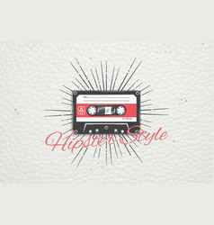 Logo music store hipster style detailed elements vector