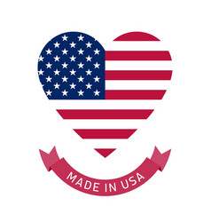 made in usa heart shaped label with usa flag vector image