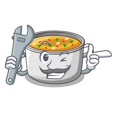 Mechanic cartoon homemade stew soup in the pot vector