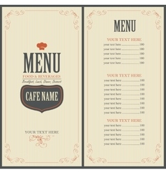 Menu for a cafe or restaurant with a toque vector